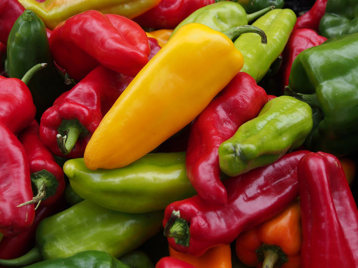 Full frame shot of multi colored bell peppers