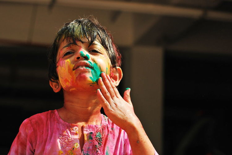 Love for colours, painted face,