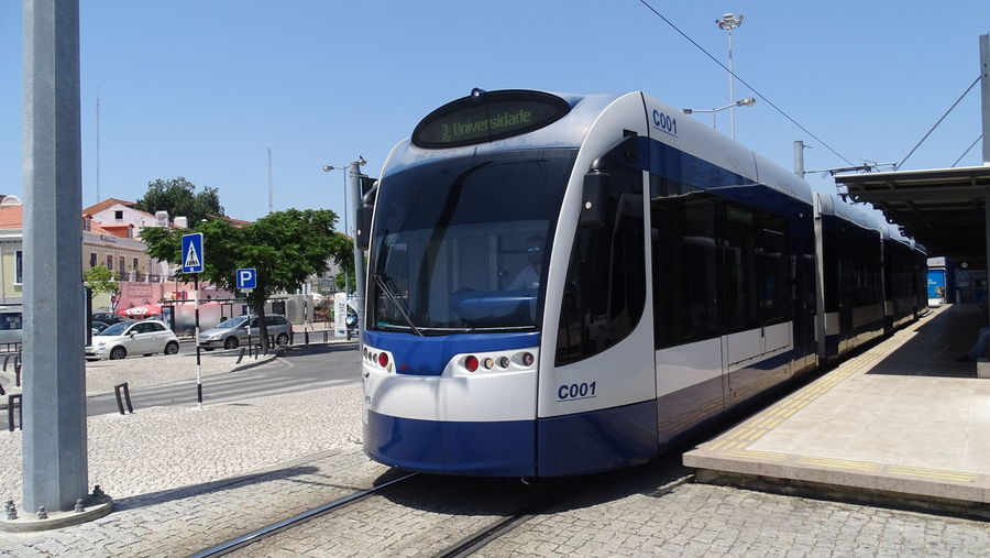 Lisboa Tram Tram Lisbon Mode Of Transportation Public Transportation Rail Transportation Street Sunny