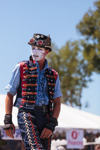 Costa Mesa, CA, USA - July 16, 2016: Dragon Knights steampunk stilt walkers perform at the Orange County Fair in Costa Mesa, CA on July 16, 2016. Editorial use only. Adult Dance Day Dragon Knights Entertainment Makeup OC Fair Orange County Fair Outdoors People Performance Performer  Steampunk Stilt Walkers Stiltwalker