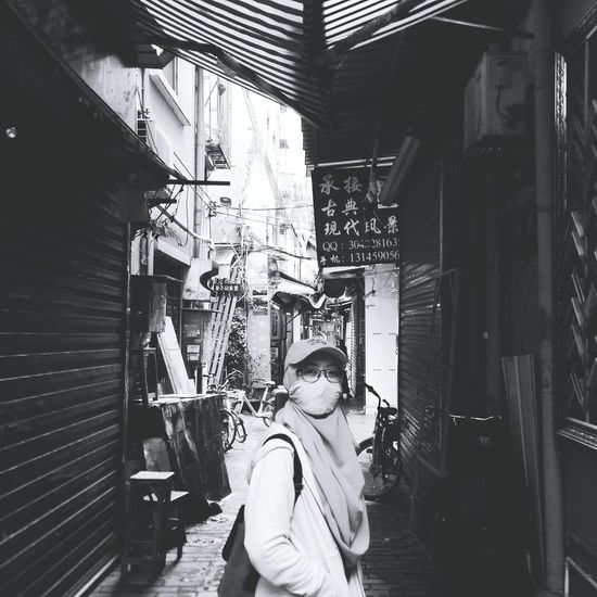 Exploring the narrow alleys at Dafen Oil Painting Village- Shenzhen, China (April, 2018) Photography Themes Standing Technology Front View Camera Photographing Self Portrait Photography Building Historic