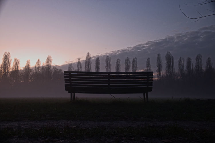 a solitary bench surrounded by a softly fog in Parco Nord (Milano, It) Bench Ending Ending The Day Good Day Goodday Panchina Panorama Parco Timeless Timeless Beauty Tramonto Cluods And Sky Fog Foggy Good Landscape Nature No People Outdoors Park Sun Sundown Sunset Tranquil Scene Tranquility