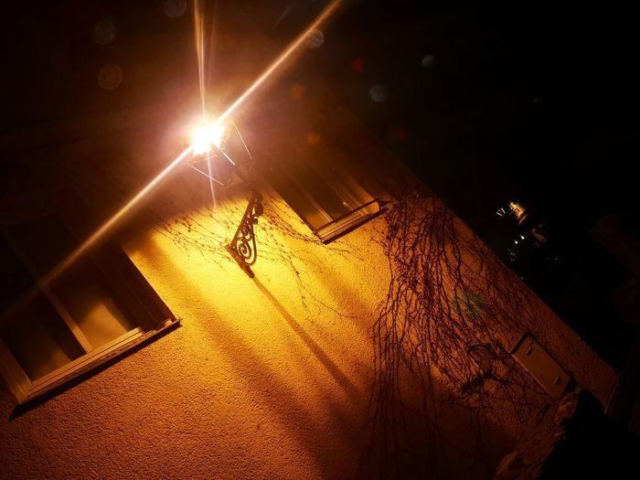 High angle view of illuminated street light at night