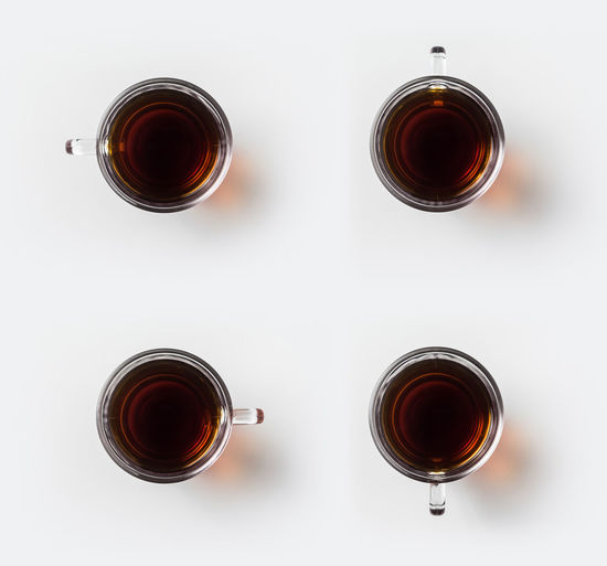 Directly above shot of tea served on table