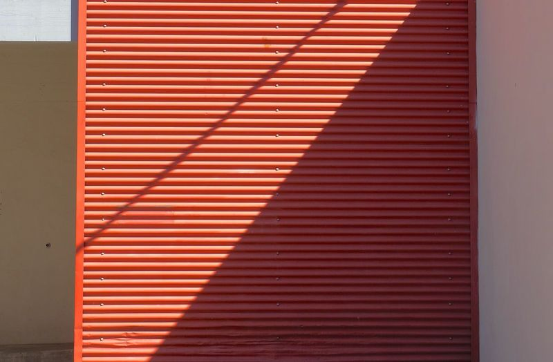 Red Metal Architectural Detail Corrigated Steel