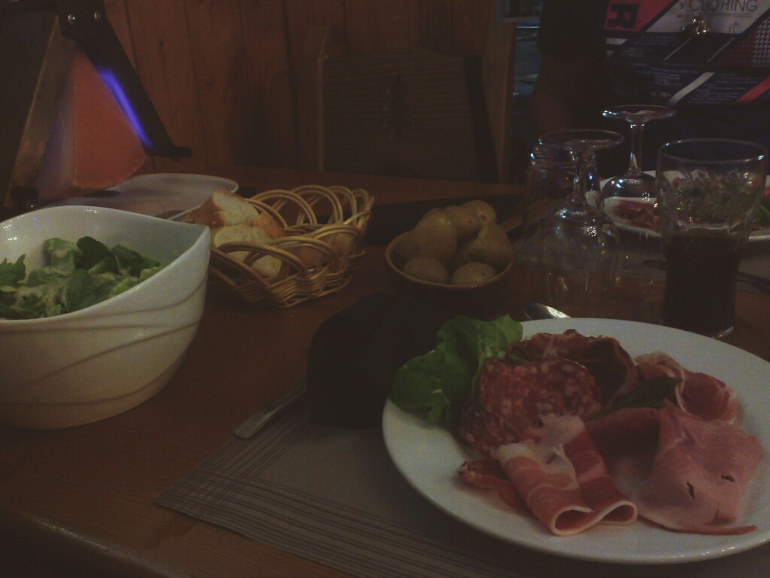 food and drink, indoors, food, plate, freshness, table, ready-to-eat, still life, serving size, healthy eating, meal, restaurant, indulgence, served, drink, salad, drinking glass, fork, close-up, bowl
