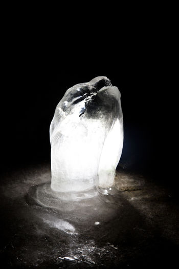 Black Background No People Indoors  Single Object Close-up Wellbeing Freshness Still Life Copy Space Water Ice Stalagmite Cold Ice Formation Backlight Copyspace darkness and light Frozen Clear Winter