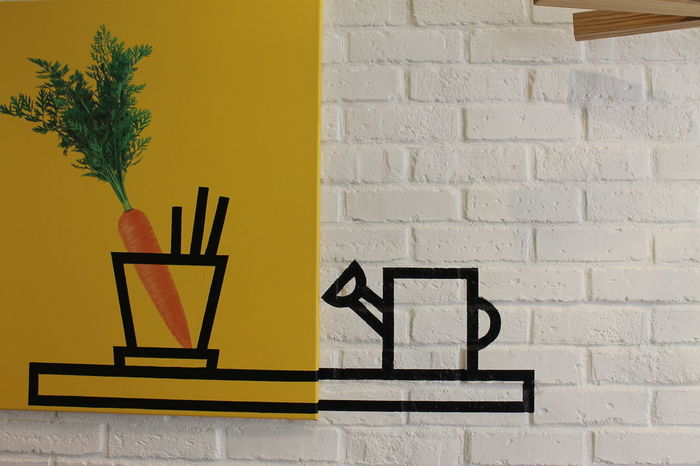 Industrie trifft Farbe Architecture Art Brick Wall Built Structure Carrots Day Illustration Indoors  Karotten Kunst No People Yellow