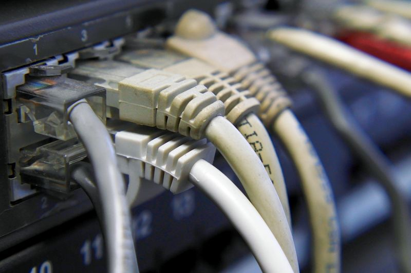 Close-Up Of Router With Cables