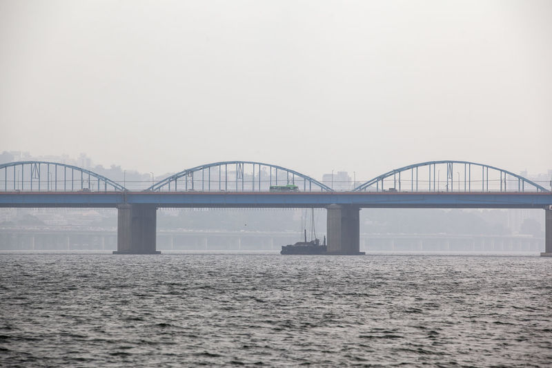 Mid Distance View Of Dongjak Bridge Over Han River Against Clear Sky