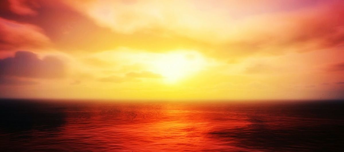 Out on the water. Water Ocean Sunset Sun Clouds Red Orange Yellow