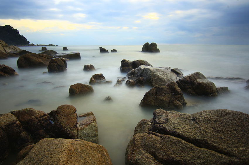 Rock - Object Slow Shutter Long Exposure Sea Water No People Cloud - Sky Long Exposure Motion Outdoors Nature Day Sky