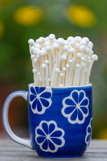 Freshness Growth Art And Craft Blue Ceramics Close-up Coffee - Drink Coffee Cup Container Crockery Cup Drink Enoki Enoki Mushrooms Focus On Foreground Food Food And Drink Freshness Indoors  Mug Mushroom No People Still Life Table Tea Cup White Color Wood - Material