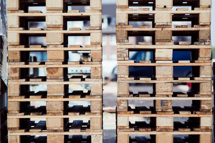 Abundance Backgrounds Close-up Day Full Frame In A Row Indoors  Industry Large Group Of Objects No People Pallet Pallets Pattern Shelf Side By Side Stack Wood - Material
