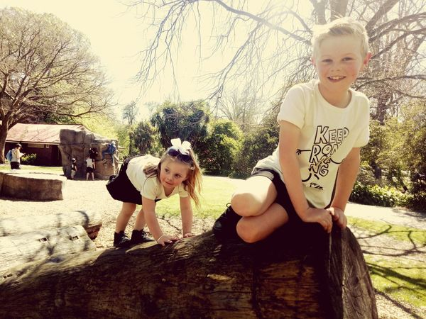 Child Childhood Togetherness Friendship Happiness Bonding Smiling Girls Tree Portrait