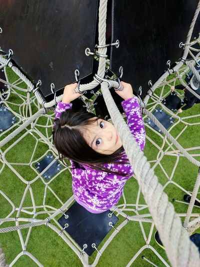 High angle portrait of girl outdoors