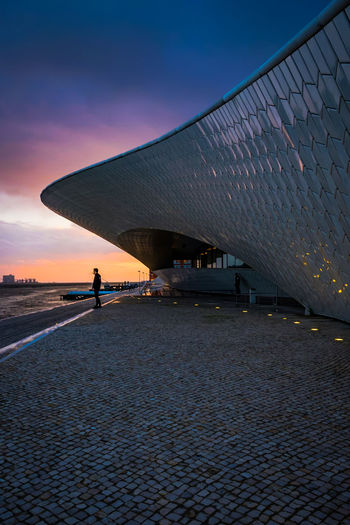 Architecture Architecture_collection Lisbon - Portugal MAAT Museum Maat, Portugal, Belem Architecture Bridge Bridge - Man Made Structure Building Exterior Built Structure City Cloud - Sky Connection Dusk Incidental People Lifestyles Maat Maat - Museum Men Nature One Person Real People Sky Sunset Water