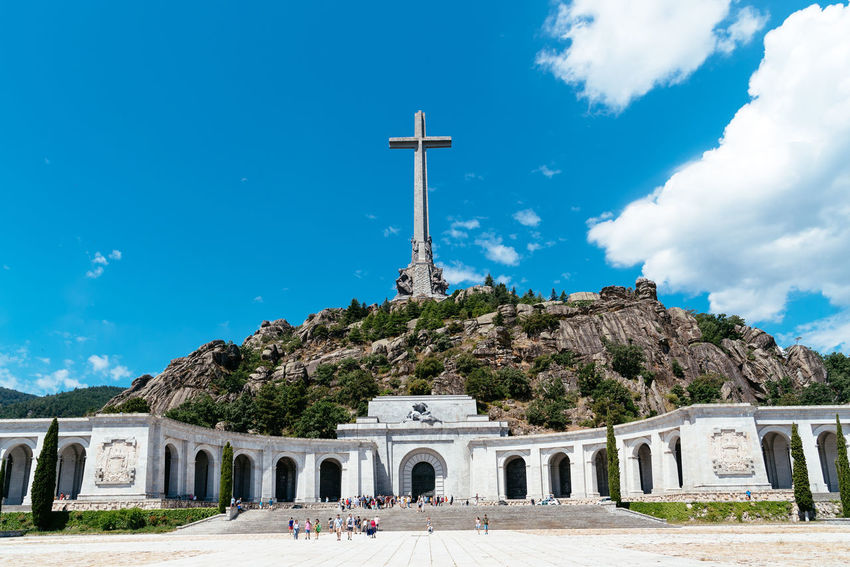 Basilica and big cross in the Valley of The Fallen in Madrid Basilica Cross El Escorial Madrid SPAIN Spanish Civil War Tomb Architecture Belief Building Built Structure Cloud - Sky Cross Europe Exhumation Franco Nature Outdoors Place Of Worship Politics And Government Religion Sky Spirituality Travel Destinations Valley Of The Fallen