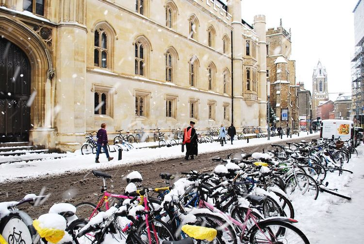 Snowy Cambridge Snow Snowing Snow ❄ Snowing Snow Snow Winter Architecture Cold Temperature Building Exterior Built Structure Real People City Street Men Nature Group Of People Walking People Day Lifestyles Warm Clothing Outdoors British Culture