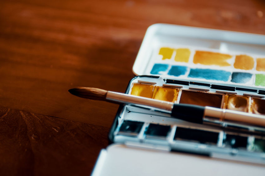 Selective Focus Close-up No People Indoors  Still Life Table High Angle View Painting Painting Art Colorful Colors Art And Craft DIY Brush