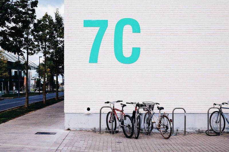 Bicycles parked in front of building