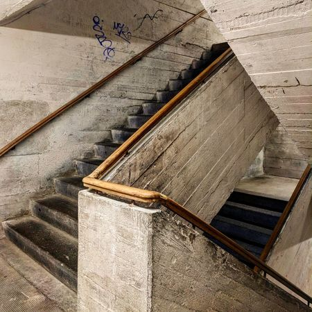 Bunker Cement Architecture High Angle View Close-up Architecture Built Structure Steps And Staircases Stairway Steps Bannister Railing Emergency Exit LINE Stairs Hand Rail Staircase Wooden