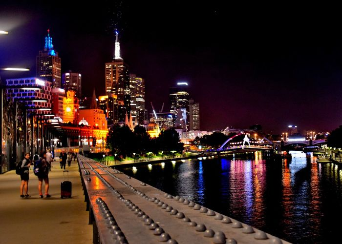 The Yarra River and the Northbank at night Building Exterior City Cityscape Illuminated Night River Skyscraper Tall - High Tower Urban Skyline Waterfront