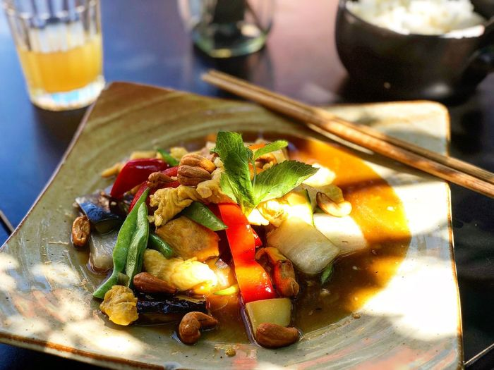 GA XAO HAT DIEU Lunch Healthy Food Healthy Lifestyle Healthy Lunch Asian Restaurant Asianfood Prenzlauer Berg Berlin Basil Vietnamese Vietnamese Food Food And Drink Food Ready-to-eat Freshness Healthy Eating Wellbeing Still Life Plate Focus On Foreground