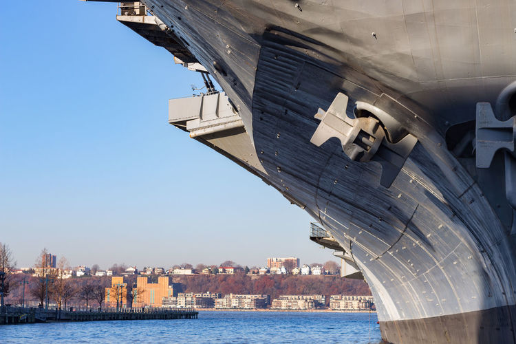 Water Architecture Sky Built Structure Building Exterior Transportation City Mode Of Transportation Nature Day No People Building Nautical Vessel Waterfront Cityscape Clear Sky River Outdoors New York Military Vessel USS Intrepid Museum Ship depth of field