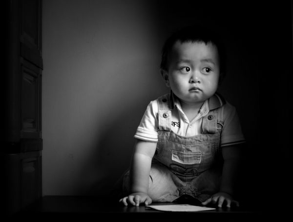 Asian baby Childhood Baby Babies Only One Person Cute Child Innocence Indoors  Portrait People Sitting Day Toddler  Asian  Babyboy Blackandwhite 14months