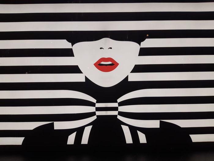Lips Bowl Girl Striped Anthropomorphic Face Striped Close-up Clown Female Likeness Wig Human Representation Zebra Doll Mannequin Idol