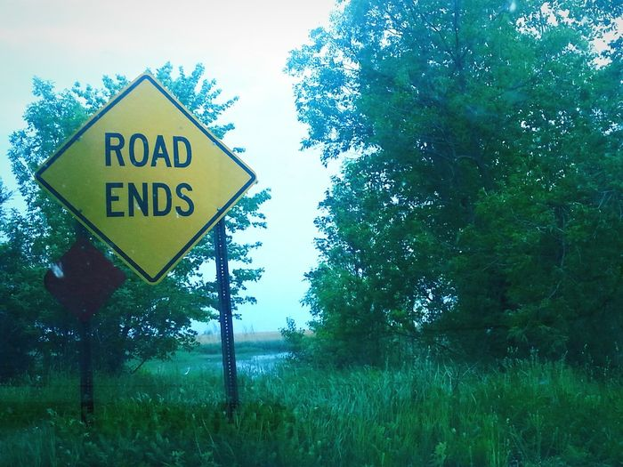 Michigan Road Ends Road Sign Bay Area Where The Road Ends Unionville