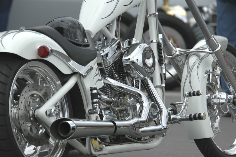 Motorcycle all chromed out motor and in classic white. Chopper Chrome Chrome Motorcycle Chrome Sweet Chrome Close Up Motorcycle Close-up Day Exhaust Pipe Land Vehicle Mode Of Transport Motocycle No People Outdoors Stationary Street Bike Transportation