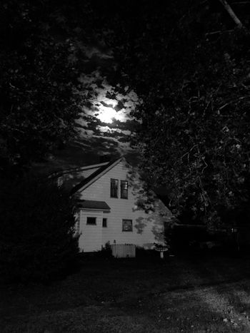 🌌 Full Moon 🌕 over my home in Oklahoma. Autumn season. Night time and original photo. Black and white photo shoot. Moon over the weekend. Yard with green trees and beautiful skies. Home is where the heart ❤️ is. Luv my children in our home. Nice view. Blessed to have it. Thanks to my parents and family. Home town photo tonight. White Picked Fence. Bird Bath 🛀. Corner Of Lots. Windows With A View. Lights 💡 on. We're home 🏡 Lost In The Landscape