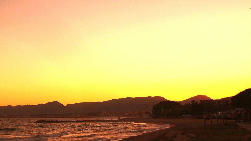 Wonderful Sunset On The Beach Sky And Sea Sunlight Cambrils
