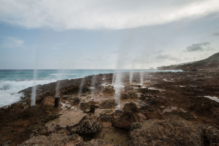 Cuba Horizon Over Water Rocky Beach Santiago De Cuba Scenics Sea Sea Spray Travel Photography Water