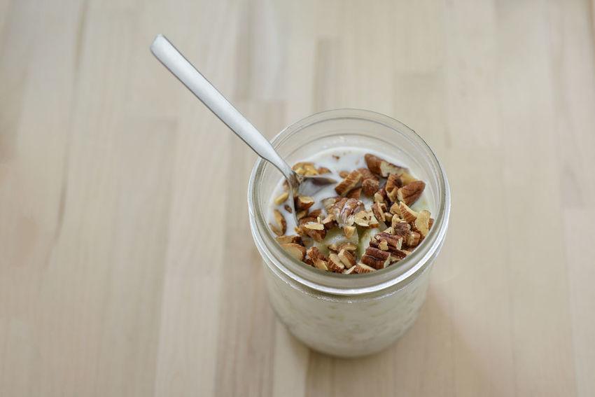 Overnight Oats Almonds Apple Close-up Day Food Food And Drink Freshness Glass Jar Green Apple Healthy Eating Indoors  Milk No People Oats Overnight Oats Ready-to-eat Spoon Yoghurt Yogurt