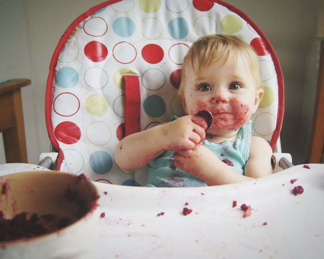 Eating Baby Domestic Life Real People Real Life Lifestyles One Person Indoors  Childhood Babies Only Food Messy Face Baby Eating Breakfast EyeEmNewHere Red