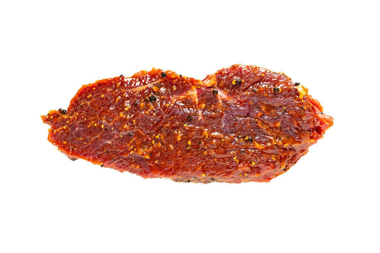Beef Steak Meat marinated closeup isolated on a white background Studio Shot Food And Drink Food Indoors  White Background Close-up Cut Out Still Life No People Ready-to-eat Freshness Single Object Meat Copy Space Unhealthy Eating Wellbeing Bread Serving Size High Angle View Indulgence Dieting Temptation Snack Beef Steak Marinated