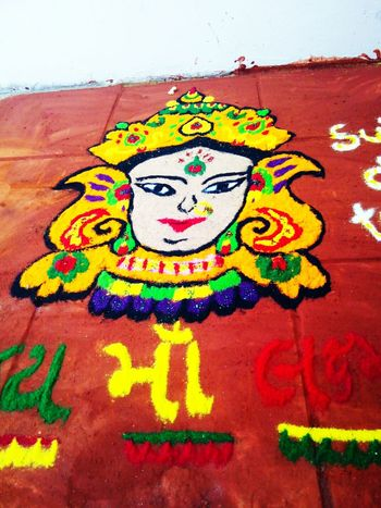 Rangolibyme Creativity Hello World Diwalitime Color Portrait Festive Season Colorful MaLakshmi Rangoli Preparations Colorful Rangoli.