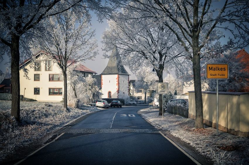 My hometown... Tree Road Architecture Road Sign Built Structure No People The Way Forward Outdoors Day Sky Canon EOS 1300D Canonphotography Germany Fulda Hessen Canon Wintertime Winter Wonderland Cold Temperature