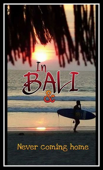Postcard style image. Holiday Holidaysnap Surfer Surfboard Bali Beach Ocean Sea Sunset Text Postcard