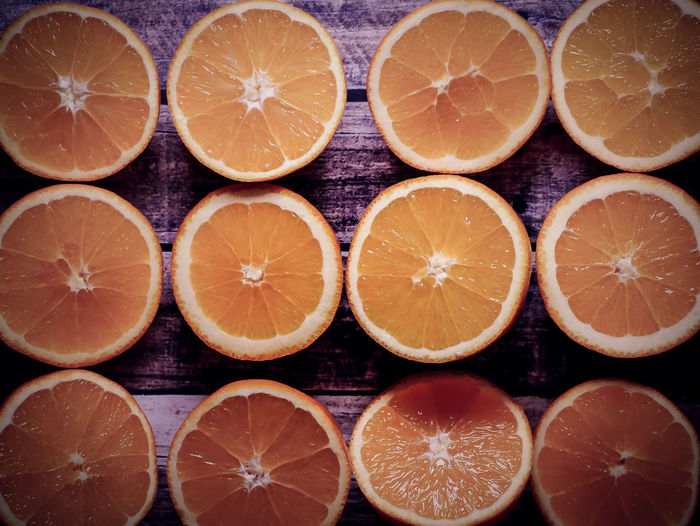 Healthy Eating Food And Drink Citrus Fruit Fruit Orange Color Wellbeing Food Orange - Fruit Freshness Orange SLICE Close-up Cross Section Full Frame No People In A Row Backgrounds Arrangement Indoors  Still Life Order