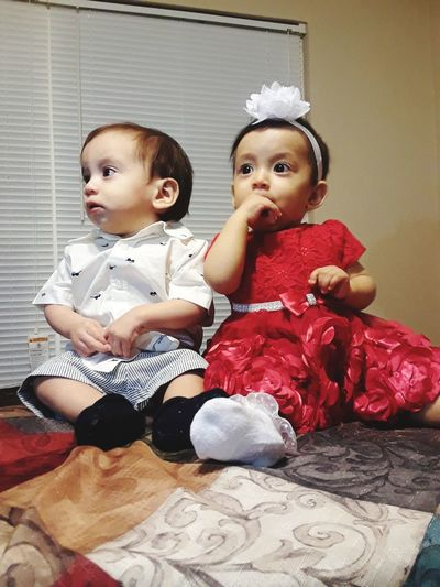 Twins Baby Childhood Toddler  Cute Innocence Babyhood Two People Babies Only Child Full Length Sitting People Indoors  Togetherness Females Boys Portrait Happiness Twin Day First Eyeem Photo Fashion Stories EyeEmNewHere