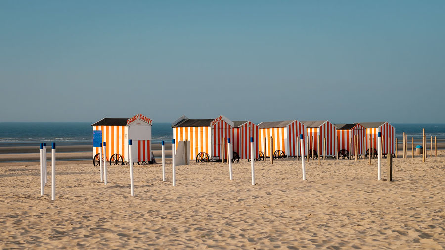 Vintage beach huts on belgian coast