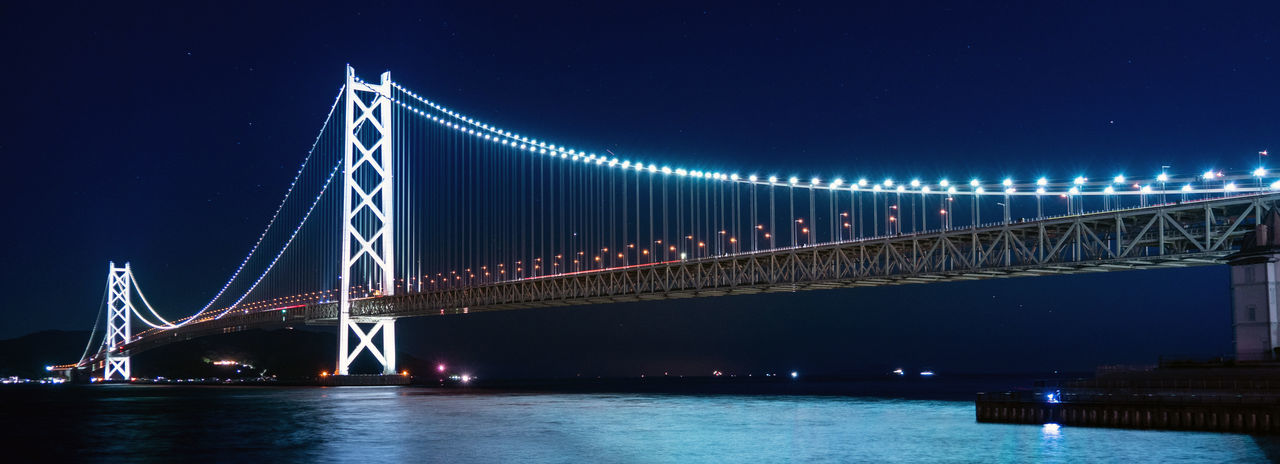 Night Built Structure Transportation Bridge Connection Architecture Water Bridge - Man Made Structure Suspension Bridge Illuminated Engineering Sky River Travel Destinations Nature Waterfront Travel City Outdoors Bay Long
