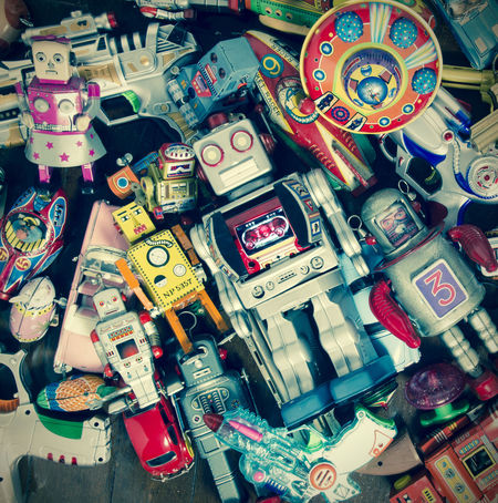 a collection of vintage toys Christmas Colection Ray Gun UFO Close-up Collection Heap High Angle View Indoors  Large Group Of Objects Multi Colored Multicolors  No People Retro Toys Robot Robot Toys Stack Tin Toys Toned Image Toy Toy Heaven Toy Photography Variation Vintage Vintage Toys