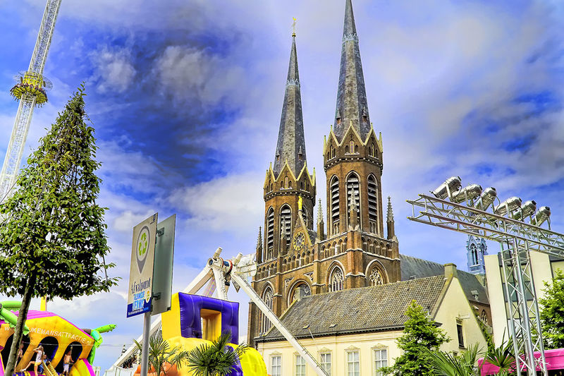 Architecture Blue Building Exterior Built Structure Cathedral Church Cloud Cloud - Sky Day Dutch Church Famous Place High Section Kerk Kirche Low Angle View Outdoors Place Of Worship Religion Sky Spirituality Tourism