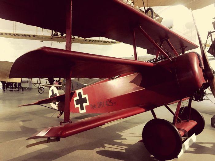 the red Baron Red Baron Doppeldecker Luftfahrt Deutsches Museum Flugzeug Airplane Munich No People Day