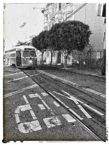 KEEP... Streetcar Tram Trolley F Line MUNI Sfmta 17th Street The Castro San Francisco Mass Transit Transportation Monochrome Bw Black And White Snapseed Texture Pixlr-o-matic